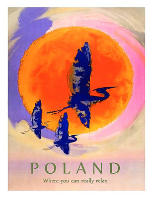 Stork Wall Art - Painting - Poland, Flying Storks On The Sun, Travel Poster by Long Shot