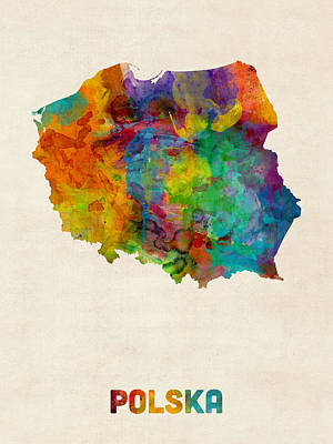 Poland Watercolor Map Print by Michael Tompsett