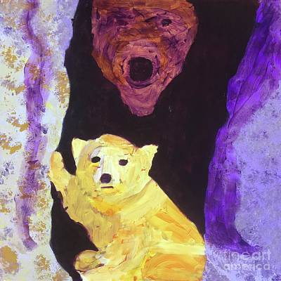 Painting - Cave Bear With Cub by Donald J Ryker III