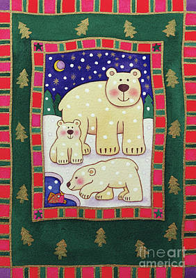 Polar Bear And Cubs Art Print by Cathy Baxter