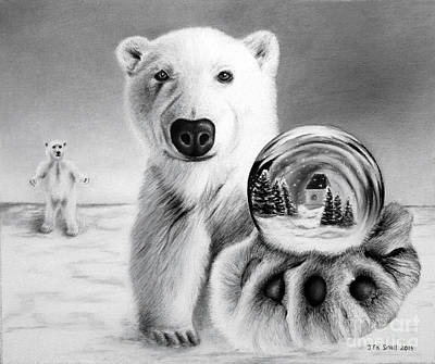 Drawing - Polar Bear And Snow Globe by John Small
