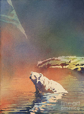 Poured Watercolours Painting - Polar Bear At Rest by Ryan Fox