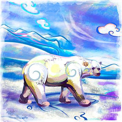 Snow Drifts Mixed Media - Polar Bear by Bedros Awak
