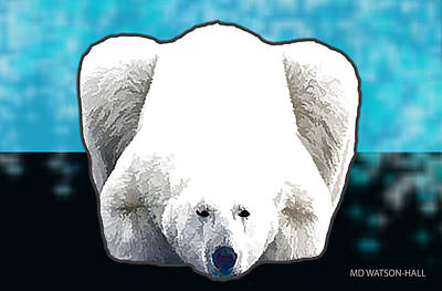 Digital Art - Polar Bear - Blue by Marlene Watson