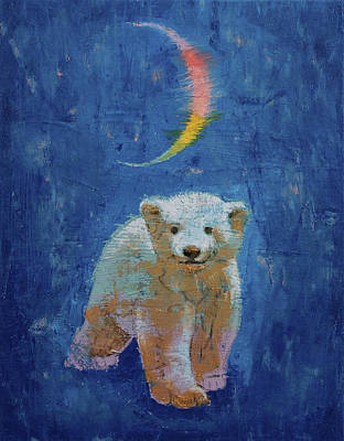 Bear Cub Painting - Polar Bear Cub by Michael Creese