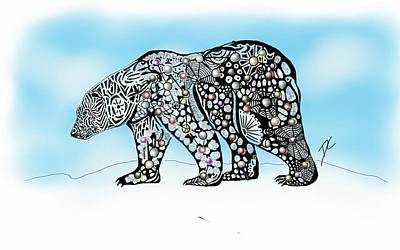 Digital Art - Polar Bear Doodle by Darren Cannell