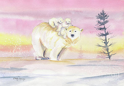 Painting - Polar Bear Family by Melly Terpening