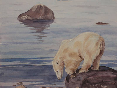 Polar Bear Fishing Art Print by Debbie Homewood