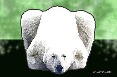 Digital Art - Polar Bear - Green by Marlene Watson