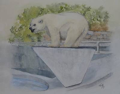 Painting - Polar Bear In Vancouver Stanley Park Zoo Vancouver, Bc by Kelly Mills