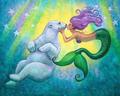 Pop Surrealism Painting - Polar Bear Kiss by Sue Halstenberg