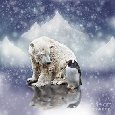 Polar Bear Meets Penguin Art Print