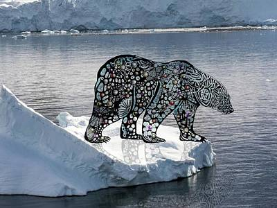 Digital Art - Polar Bear On An Ice Flow by Darren Cannell