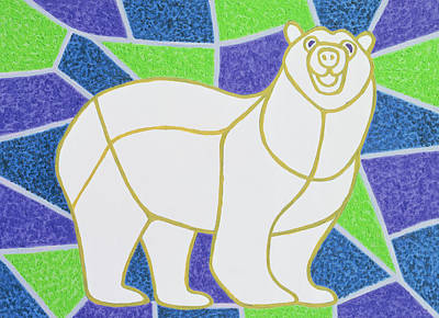 Christmas Card Painting - Polar Bear On Stained Glass by Pat Scott