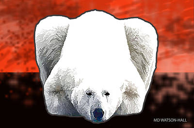 Digital Art - Polar Bear - Orange by Marlene Watson