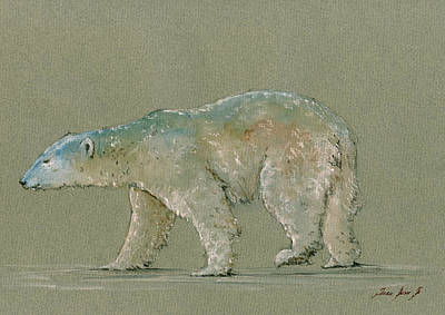 Polar Bear Original Watercolor Painting Art Print by Juan  Bosco