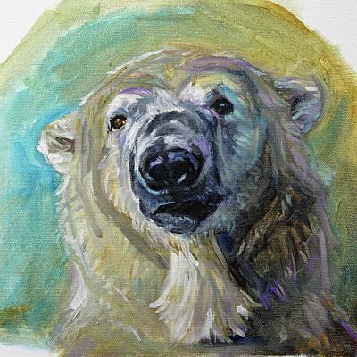 Painting - Polar Bear Portrait Study 3 by Christine Montague