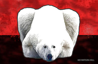 Digital Art - Polar Bear - Red by Marlene Watson