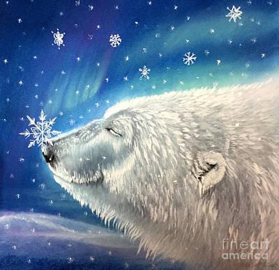Pastel - Polar Bear Snowflakes by Michaeline McDonald