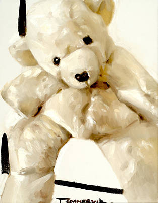 Painting - Polar Bear Stuffed Animal by Tommervik