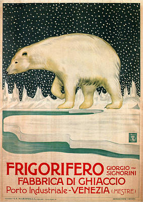 Painting - Polar Bear Walking On Ice - Vintage Travel Poster by Studio Grafiikka