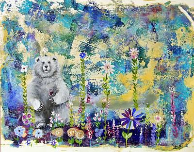 Wall Art - Painting - Polar Bear With Wine by Carol Iyer