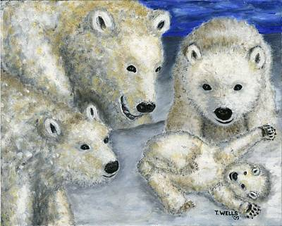 Painting - Polar Bears At Play In The Arctic by Tanna Lee M Wells