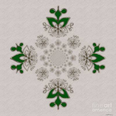 Polar Inversion Green And Gold Art Print