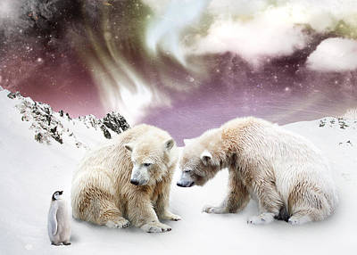 Penguin Digital Art - Polar Meet by Julie L Hoddinott