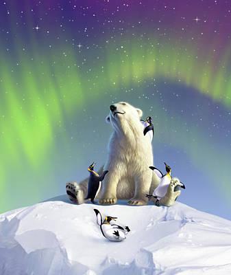 Penguin Digital Art - Polar Opposites by Jerry LoFaro