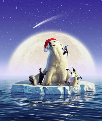 Penguin Digital Art - Polar Season Greetings by Jerry LoFaro