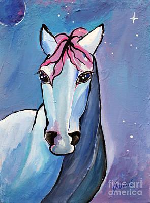 Mammals Painting - Polaris Whimsical Horse Art By Valentina Miletic by Valentina Miletic
