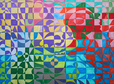 Multicolored Painting - Polarity Play by Laura Joan Levine
