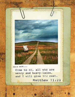 Photograph - Polaroid On Weathered Wood With Bible Verse by Jill Battaglia