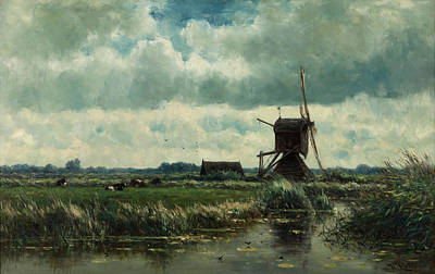 Netherlands Painting - Polder Landscape With Windmill Near Aboude by Mountain Dreams