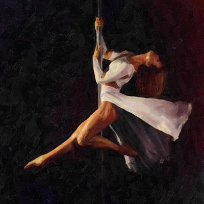 Athletic Mixed Media - Pole Dance 2 by Tilly Williams