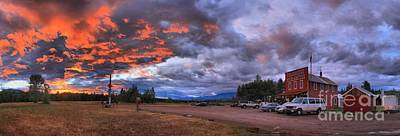 Photograph - Polebridge Mercantile And Bakery Sunset Panorama by Adam Jewell
