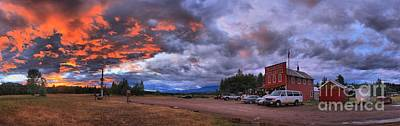 Photograph - Polebridge Mercantile Sunset Panorama by Adam Jewell