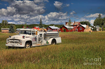 Photograph - Polebridge Montana Fire Truck Landscape by Adam Jewell