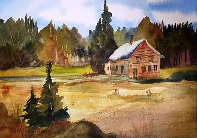 Polebridge Mt Cabin Art Print by Larry Hamilton