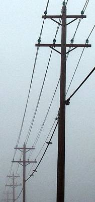Poles In Fog - View On Right Print by Tony Grider