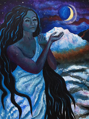 Painting - Poli'ahu The Hawaiian Goddess Of Snow And Ice by Katerina Roy