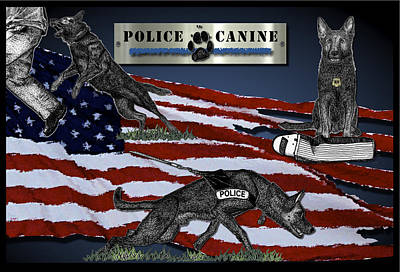 American Flag Mixed Media - Police Canine Collage by Rose Borisow