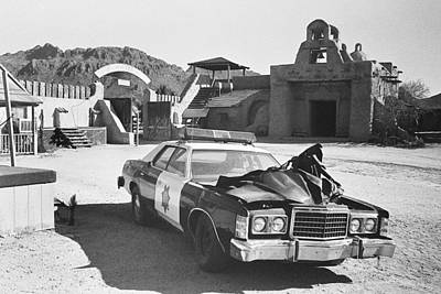Blue Hues - Police car from Cannon Ball Run 2 Spanish Mission Old Tucson Arizona 1984 by David Lee Guss