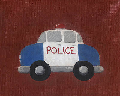 Police Car Nursery Art Art Print by Katie Carlsruh