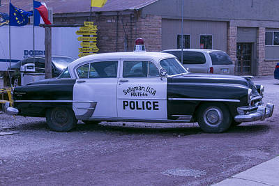 Police Car Seligman Azorina Art Print by Garry Gay