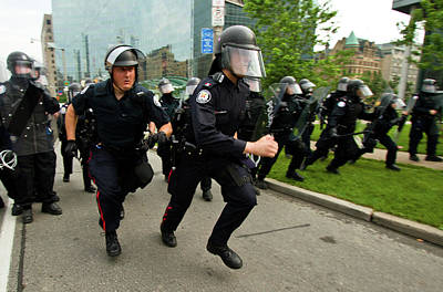 Photograph - Police Charge by Michael Thibault