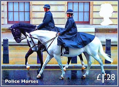 Painting - Police Horses by Lanjee Chee
