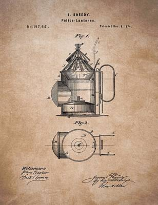 Law Enforcement Drawing - Police Lantern Patent by Dan Sproul