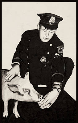Five-o Painting - Police Man Feeding A Pig by Michael Jager
